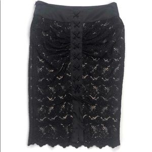 Bebe lined black lace pencil skirt w/lace up back